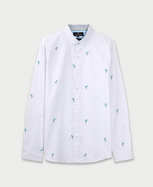 Embroidered Flamingos Shirt