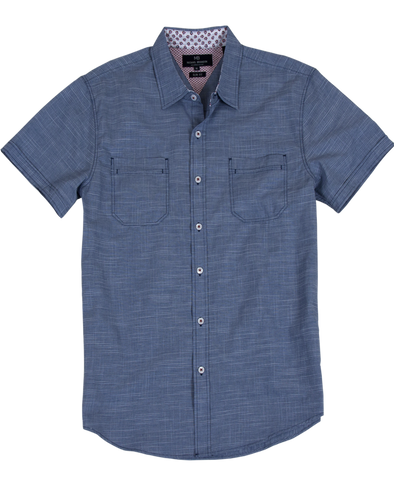 Crosshatch Pattern Short Sleeve Shirt