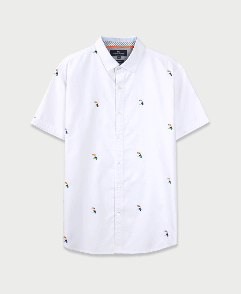 Michael Brandon Embroidered Tropical Toucan Shirt