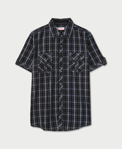 Michael Brandon Crossed Plaid Shirt