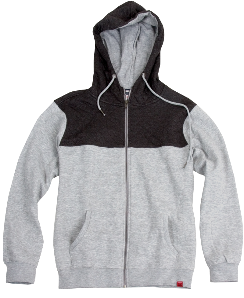 Quilted Panel Full-Zip Hoodie