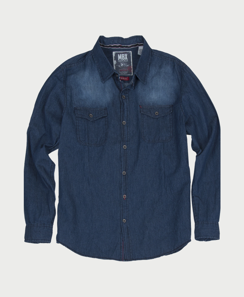 Dot Print Denim Shirt