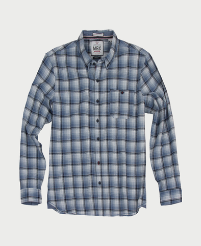 MBX Blue Plaid Button Down