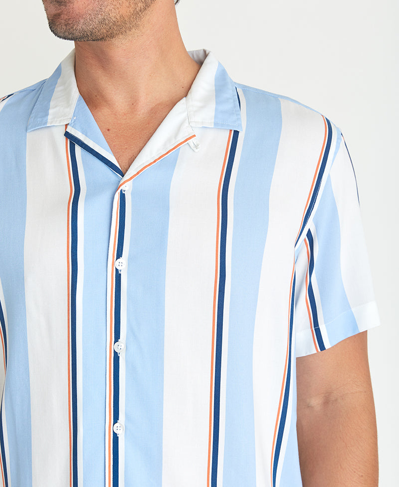 Multi-Stripe Camp Shirt