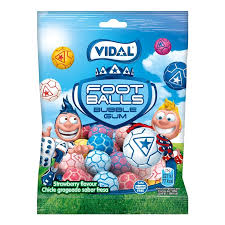Vidal Strawberry Fooballs Bubble Gum|Vidal Strawberry Footballs Bubble Gums