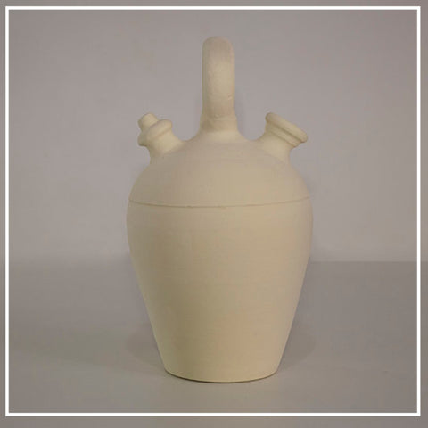Botijo of white clay|Botijo Blanco Round handle