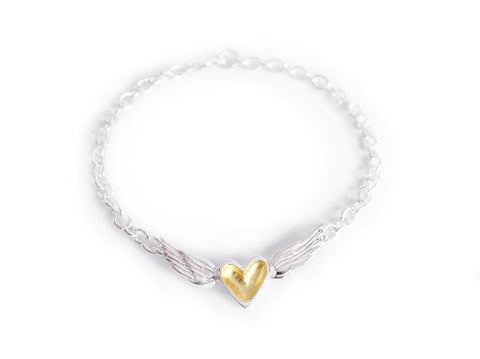 gold heart with wings bracelet