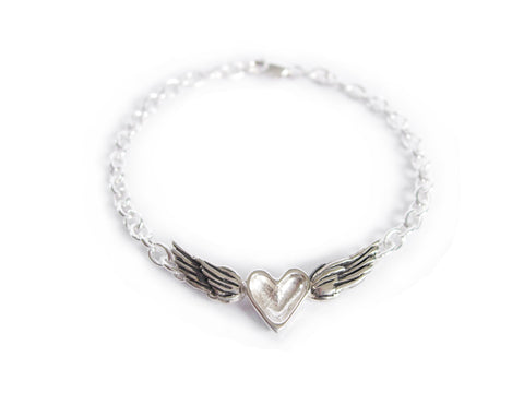 silver heart with wings bracelet