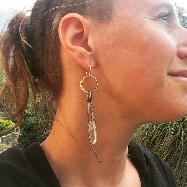 big crystal and bone earrings
