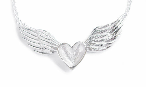 mini silver heart with wings necklace