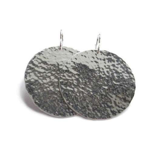 big moon silver disc earrings with round hammered pattern