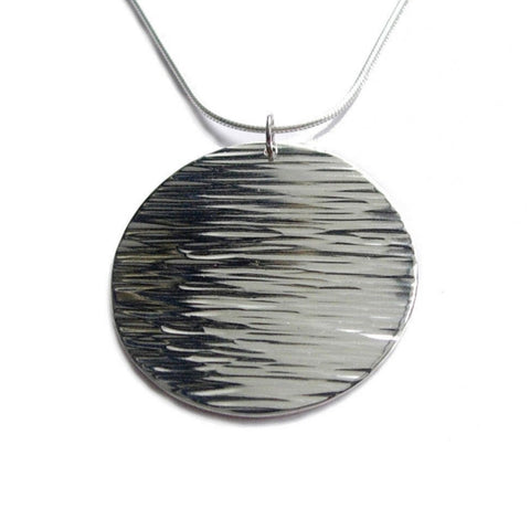 big moon line disc necklace