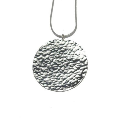 Moon Disc Necklace (rain texture)