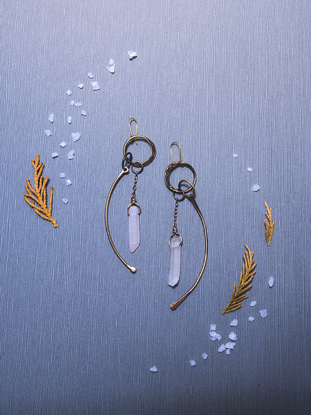 Crystal & Bone Brass Earrings (large)