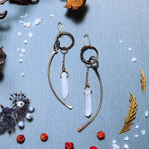 Crystal and Bone earrings in Brass