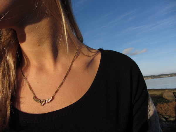 mini bronze heart wing necklace