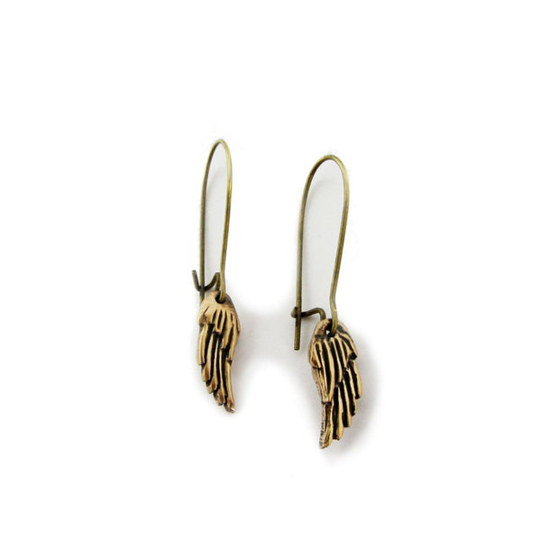 mini bronze wing earrings
