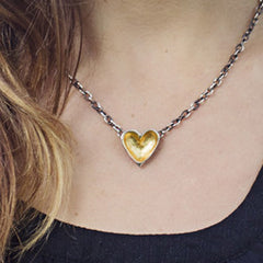 Gold & Silver Open Heart Necklace (dark chain)