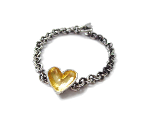 gold open heart bracelet with patina