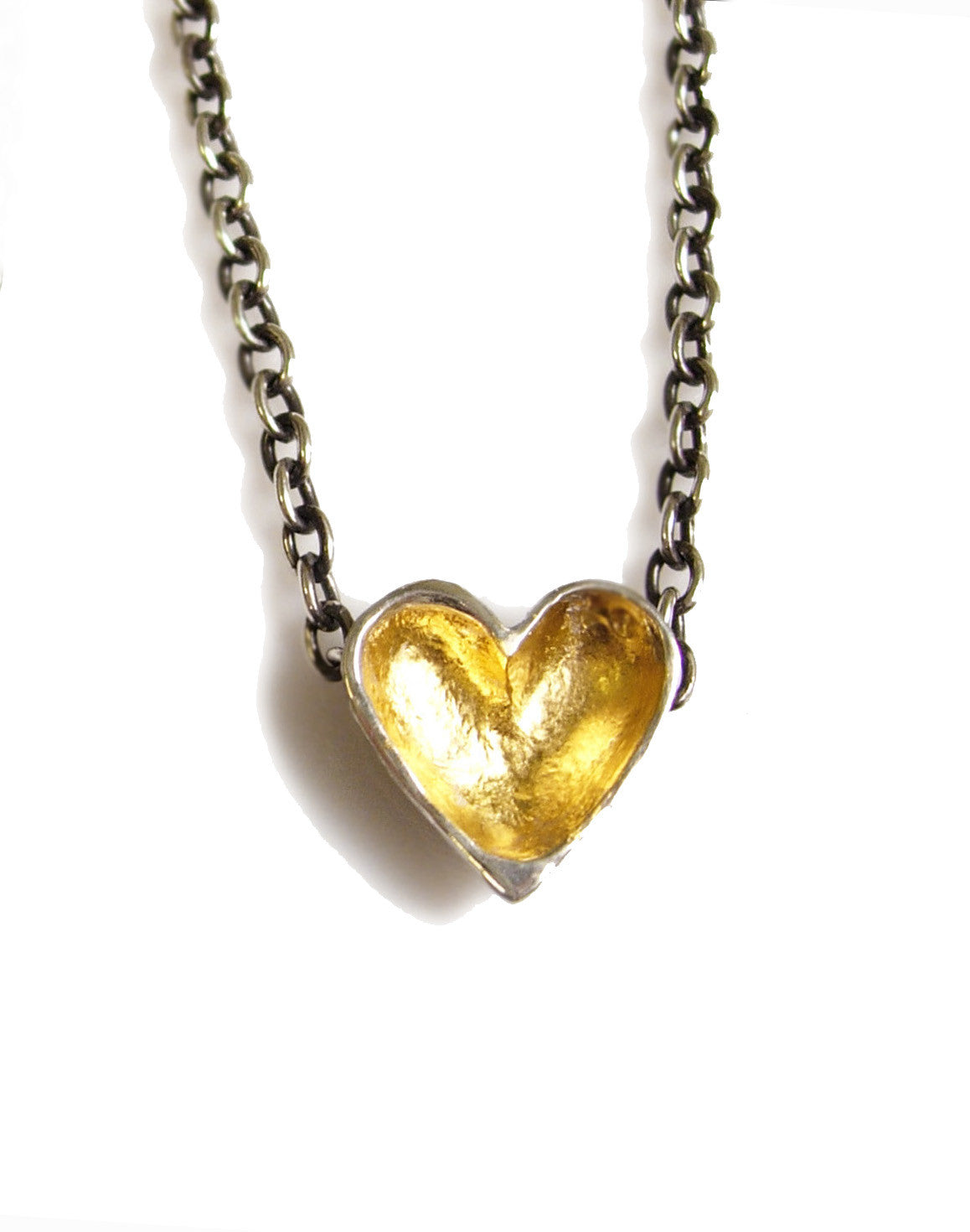 hand made silver and gold open heart necklace