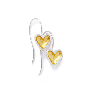 Sterling silver open heart earrings with gold leafed centres hanging from hand crafted sterling silver shepherds hooks.