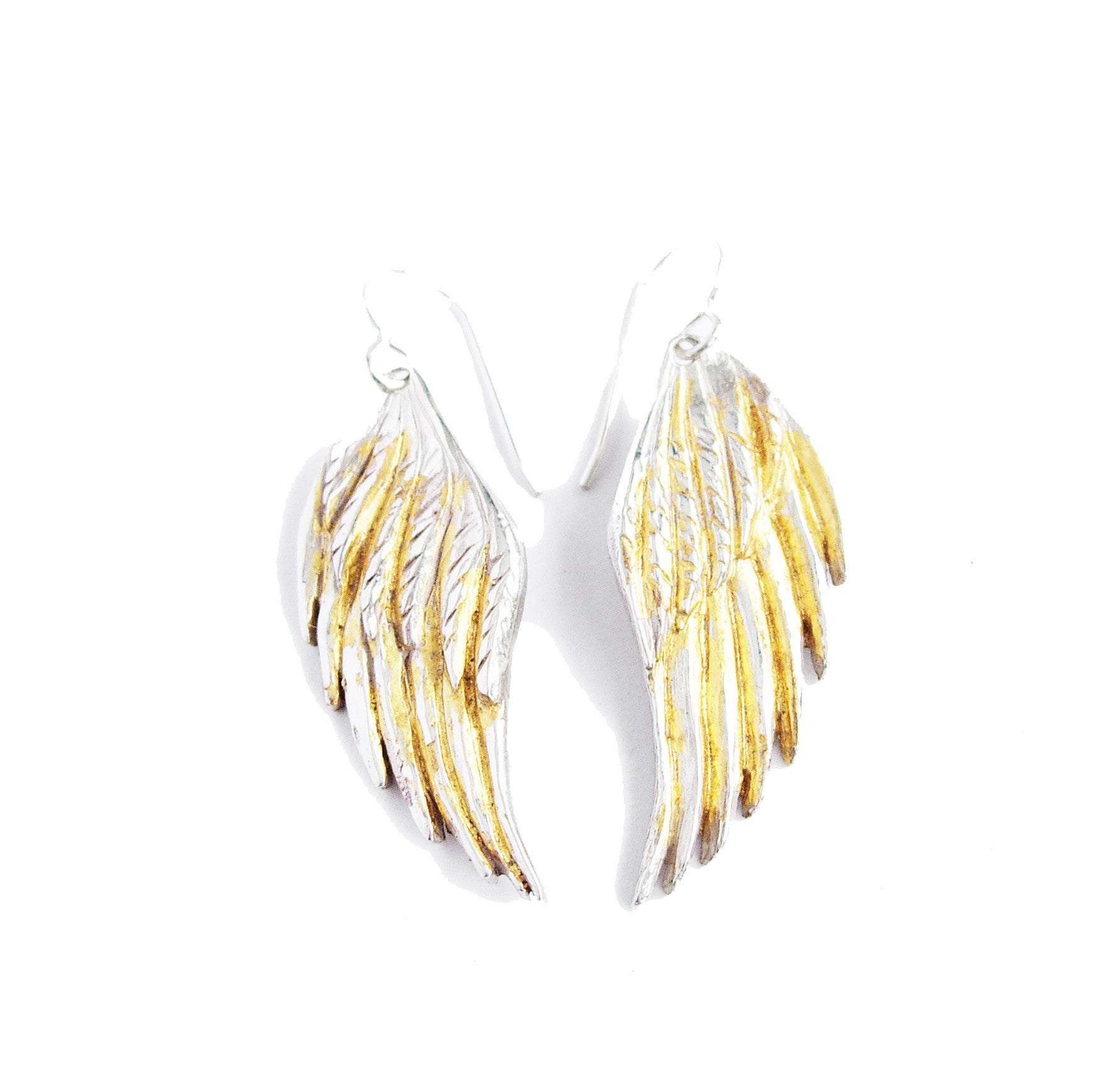 Silver and gold big wing earrings