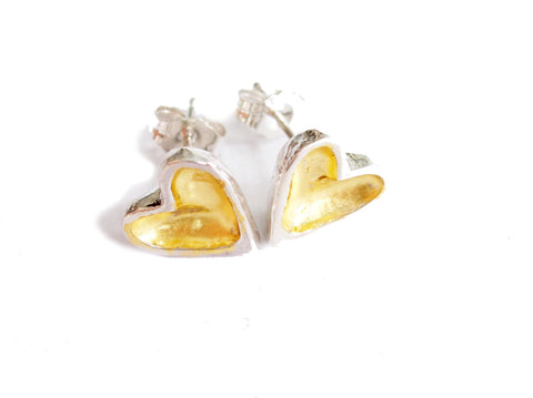 gold leaf and sterling silver open heart stud earrings