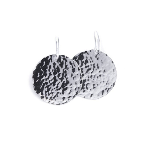 Little Moon Disc Earrings (hammered rain texture)