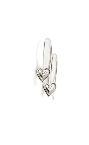 long silver open heart earrings