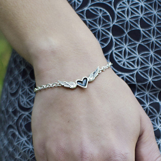 Patina Heart with Silver Wings Bracelet