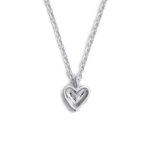 mini silver open heart necklace