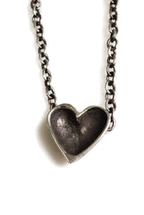handmade sterling silver pataina darkened open heart necklace