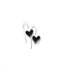 Sterling silver open hearts earrings with black patina centre hanging from hand crafted sterling silver shepherds hooks.
