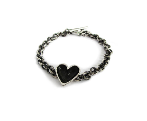patina darkened open heart bracelet