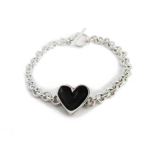patina open heart bracelet light chain