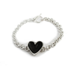 Silver Patina Open Heart Bracelet (light chain)