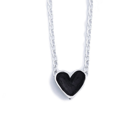 Patina Silver Open Heart Necklace (light chain)