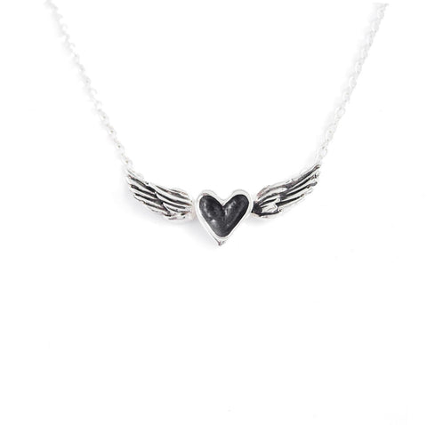 Silver Heart with Patina Wings Necklace