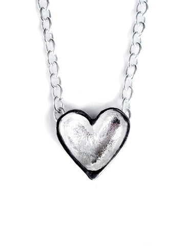 mini patina heart necklace with light chain