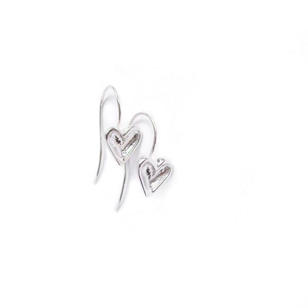 Sterling silver open heart earrings hanging from hand crafted sterling silver shepherds hooks.