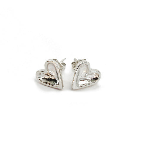 gold and silver open heart stud earrings