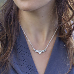 Mini Silver Heart with Patina Wings Necklace