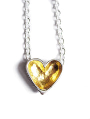 gold and silver open heart necklace