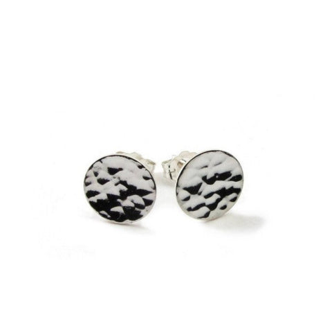 Big Moon Disc Earrings (hammered line texture)