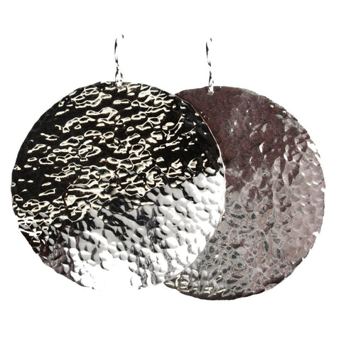 Mini Disc Earrings (hammered line texture)