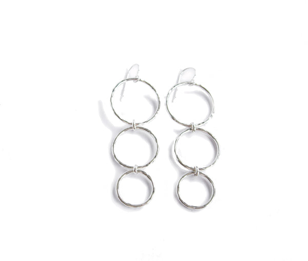 silver trinity triple ring earrings