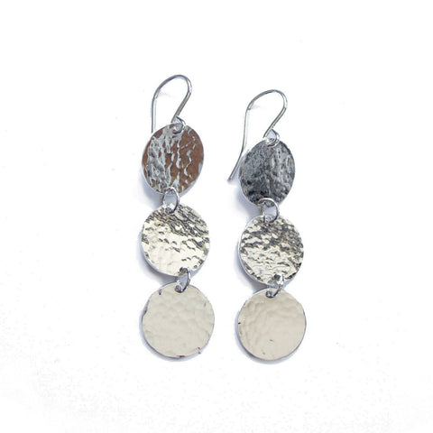 Big Moon Disc Earrings (hammered round texture)