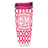Phi Mu greek sorority gift accessories tumbler cup thermos