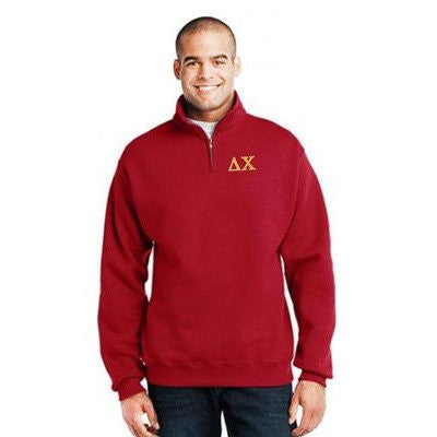 Something Greek Embroidered Quarter Zip Sweatshirt