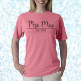 Sorority Established Comfort Colors Printed TShirt